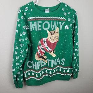 Freeze Meowy Christmas Green Ugly Sweater Size L